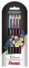 Pentel® Gelschreiber Hybrid Dual Glitter - 0,5 mm, Etui 4 Stück sortiert Tintenroller 0,5 mm