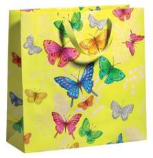 Geschenktragetasche Schmetterling gelb - 33 x 33 x 12 cm Geschenktragetasche neutral 33 cm 33 cm