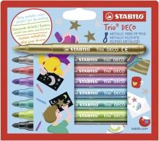 Stabilo® Faserschreiber Trio® DECO - 8 glänzende Metallic-Farben sortiert Faserschreiberetui 3 mm