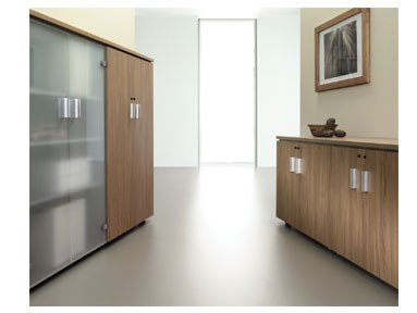 Schrank 2 Türen in Dekor unten - 2 Türen in Glas oben - Büro Design ...