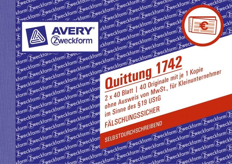 Avery Zweckform 1742 Quittung Kleinunternehmer 1 Und 2 Blatt