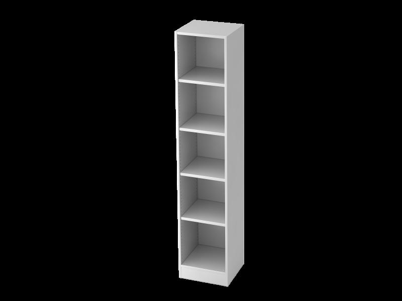 regal schmal 5oh mit sockelblende wei b ro design kruel beratungs planungs gmbh online shop. Black Bedroom Furniture Sets. Home Design Ideas