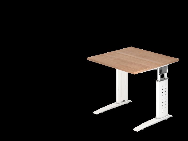 Schreibtisch C Fuß 80x80cm Nussbaumweiß Büro Design Kruel