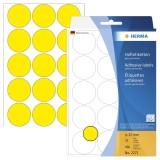 Herma 2271 Vielzwecketiketten - gelb, Ø 32 mm, matt, 480 Stück Haftetiketten ø 32 mm rund gelb