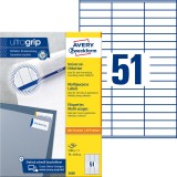 Avery Zweckform® 3420 Universal-Etiketten - 70 x 16,9 mm, weiß, 5.100 Etiketten/100 Blatt, permanent