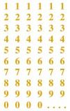 Avery Zweckform® 3728 Zahlen-Etiketten - 0-99, 7,5 mm, gold, selbstklebend, witterungsbeständig, 124 Etiketten