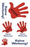 Avery Zweckform® 3741 Hinweis-Etikett Stop-Keine Werbung, Folie, 5 Etiketten Hinweisetiketten rot