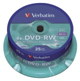 Verbatim DVD-RW - 4.7GB/120Min, 4-fach/Spindel, Packung mit 25 Stück DVD-RW 4.7GB/120Min 4-fach