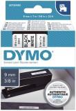 Dymo® Schriftband D1, Kunststoff, laminiert, 7 m x 9 mm, Schwarz/Weiß Schriftband Standardetikett