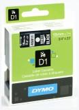 Dymo® Schriftband D1, Kunststoff, laminiert, 7 m x 19 mm, Weiß/Schwarz Schriftband Standardetikett