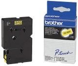 Brother TC-601 Schriftbandkassetten, laminiert, 12 mm x 7,7 m, schwarz auf gelb Schriftband 12 mm