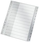 Leitz 1282 Zahlenregister - 1-12, PP, A4 Überbreite, 12 Blatt, grau volldeckend Register 1-12