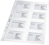 Leitz 4758 Visitenkarten-Prospekthülle - glasklar, 0,11 mm, 8 Fächer, max. 10x7 cm, 10 Stück