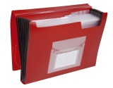 Q-Connect® Fächermappe - 13 Taschen, 250 Blatt, PP, rot 13 rot A4 Gummizug 330 mm
