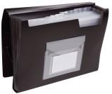 Q-Connect® Fächermappe - 13 Taschen, 250 Blatt, PP, schwarz 13 schwarz A4 Gummizug 330 mm