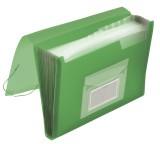 Q-Connect® Fächermappe - 13 Taschen, 250 Blatt, PP, transluzent grün 13 transluzent grün A4