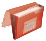 Q-Connect® Fächermappe - 13 Taschen, 250 Blatt, PP, transluzent rot 13 transluzent rot A4 Gummizug