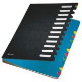 Leitz 5912 Deskorganizer Color 1-12 - 12 Fächer, Karton, schwarz verstärkter Dehnrücken 12 A4