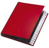 Pagna® Pultordner Color-Einband - Tabe 1 - 31, 32 Fächer, rot dehnbarer und verstärkter Rücken