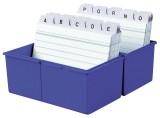 HAN Karteibox DIN A7 quer, für 300 Karten mit Stahlscharnier, blau Karteibox unbefüllt blau 121 mm