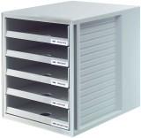 HAN Schublabdenbox SCHRANK-SET - A4/C4, 5 offene Schubladen, lichtgrau Schubladenbox A4/C4 5 45 mm