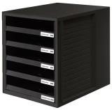 HAN Schublabdenbox SCHRANK-SET - A4/C4, 5 offene Schubladen, schwarz Schubladenbox schwarz/schwarz 5