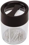 Q-Connect® Büroklammernspender, rund - schwarz/transparent, Ø 58 x 72 mm Höhe Klammernspender