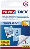 tesa® Klebestück Tack - wieder ablösbar, 10 x 10 mm, transparent, 200 Stück Klebestücke