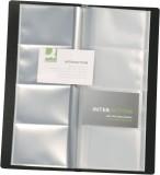 Q-Connect® Visitenkartenbuch schwarz für 160 Karten Visitenkartenbuch schwarz 11,0 x 26,0 cm