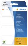 Herma 4300 Adress-Etiketten - 88 x 35 mm, selbstklebend, 250 Stück Adressetiketten 88 x 35 mm weiß