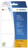 Herma 4301 Adress-Etiketten - 95 x 48 mm, selbstklebend, 250 Stück Adressetiketten 95 x 48 mm weiß