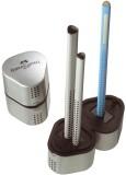 Faber-Castell Dreifachspitzdose GRIP2001 - silber für Blei- und Farbstifte in Standard oder Jumbo