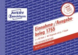 Avery Zweckform® 1755 Einnahme-/Ausgabebeleg - A6 quer, SD, MP, fälschungssicher, 2 x 40 Blatt, weiß, gelb