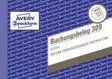 Avery Zweckform® 309 Buchungsbeleg, DIN A6 quer, mikroperforiert, 50 Blatt, weiß weiß 50 Blatt