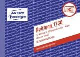 Avery Zweckform® 1736 Quittung inkl. MwSt. - A6 quer, MP, SD, fälschungssicher, 2 x 40 Blatt, weiß, gelb