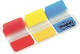 Post-it® Haftstreifen Index Strong, 25,4 x 38 mm, Grundfarben, 3 x 22 Streifen Vollflächige Farbe.