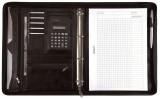 Alassio® Ringbuchmappe MASSA - A4, Lederimitat, schwarz inkl. Taschenrechner Schreibmappe schwarz