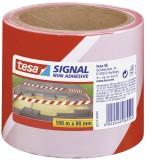 tesa® Absperrband - nicht klebend - rot/weiß - 80 mm x 100 m Warnmarkierungsband rot/weiß