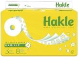 Hakle® Toilettenpapier PLUS mit Kamille - 3-lagig, geprägt, Porenprägung, weiß mit Dekor, Rolle mit 150 blatt, 8 Rollen