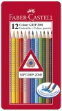 Faber-Castell Buntstift Colour GRIP - 12 Farben, Metalletui ergonomische Dreikantform mit Namensfeld