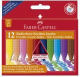 Faber-Castell Radierbare Kreide JUMBO, ergonomische Dreikantform, 12 Kreiden farbig im Etui Kreide
