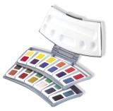 Pelikan Aquarell-Malkasten 725/24, Kunststoffkasten mit 24 Farben 2 Wasserboxen und Mischpalette