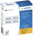Herma 4887 Nummernetiketten doppelt selbstklebend 10x22 mm Aufdruck blau Nummernetiketten 10 x 22 mm