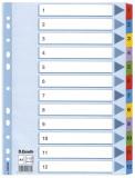 Esselte Zahlenregister - 1-12, Karton, A4, 12 Blatt, weiß, farbige Taben volldeckend Register A4
