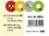 HAN Karteikarten - DIN A8 quer, 120 g/qm, für CROCO 2-6-19, gelb Karteikarten A8 quer liniert gelb