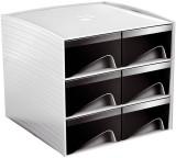 Cep Aufbewahrungsbox - Serie MyCube,  3-222 Schubladenbox weiß/schwarz 6 186 x 185 x 175 mm