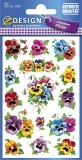 Avery Zweckform® Z-Design 4398, Deko Sticker, Stiefmütterchen, 3 Bogen/45 Sticker Deko-Etiketten 3