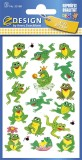 Avery Zweckform® Z-Design 53168, Kinder Sticker, Frösche, 3 Bogen/32 Sticker Deko-Etiketten Papier