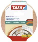 tesa® Papier-Klebeband Maler-Krepp für Rundungen, 25 m x 25 mm, beige Kreppband Innenbereich 25 m