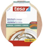 tesa® Papier-Klebeband Maler-Krepp für Rundungen, 25 m x 38 mm, beige Kreppband Innenbereich 25 m